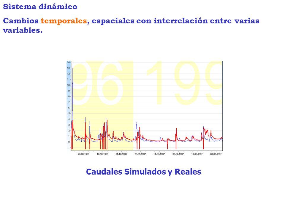Caudales Simulados y Reales Sistema dinámico Cambios temporales, espaciales con interrelación entre varias variables.