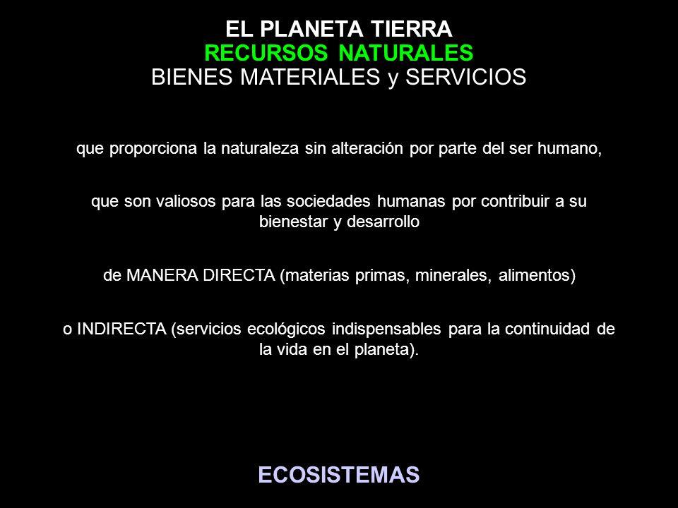 EL PLANETA TIERRA que proporciona la naturaleza sin alteración por parte del ser humano, BIENES MATERIALES y SERVICIOS que son valiosos para las socie