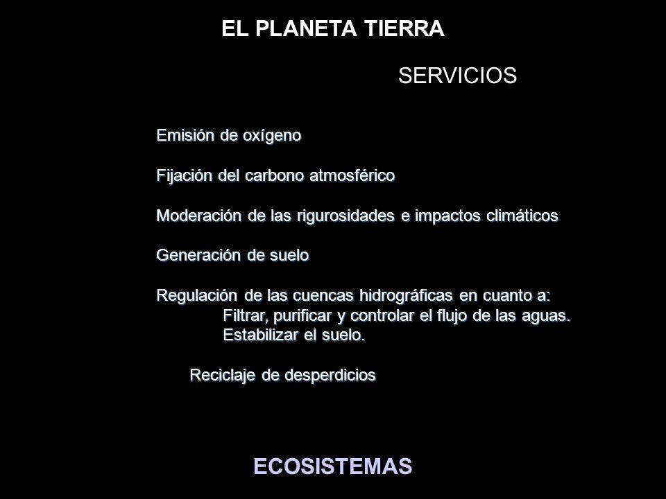EL PLANETA TIERRA ECOSISTEMAS BIENES MATERIALES y SERVICIOS Emisión de oxígeno Fijación del carbono atmosférico Moderación de las rigurosidades e impa