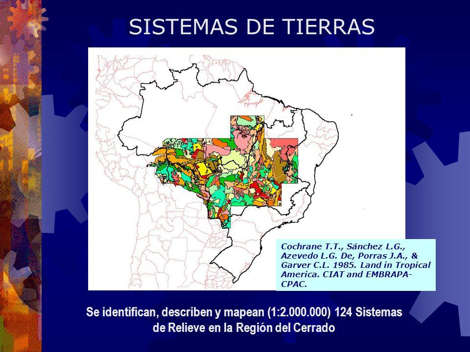 SISTEMAS DE TIERRAS Se identifican, describen y mapean (1:2.000.000) 124 Sistemas de Relieve en la Región del Cerrado Cochrane T.T., Sánchez L.G., Azevedo L.G.