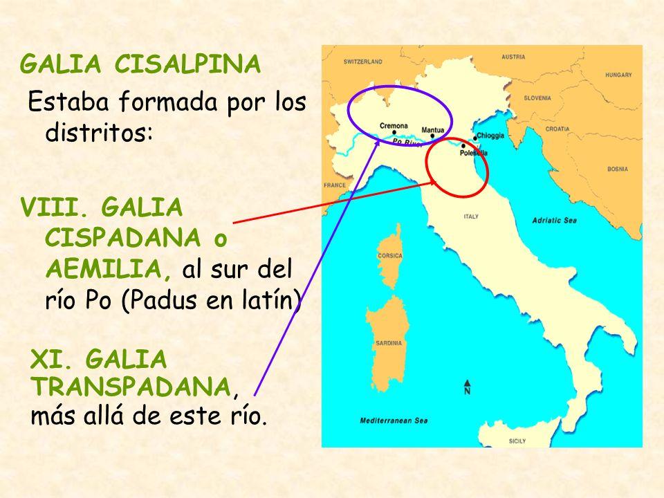 GALIA CISALPINA Estaba formada por los distritos: VIII. GALIA CISPADANA o AEMILIA, al sur del río Po (Padus en latín) XI. GALIA TRANSPADANA, más allá