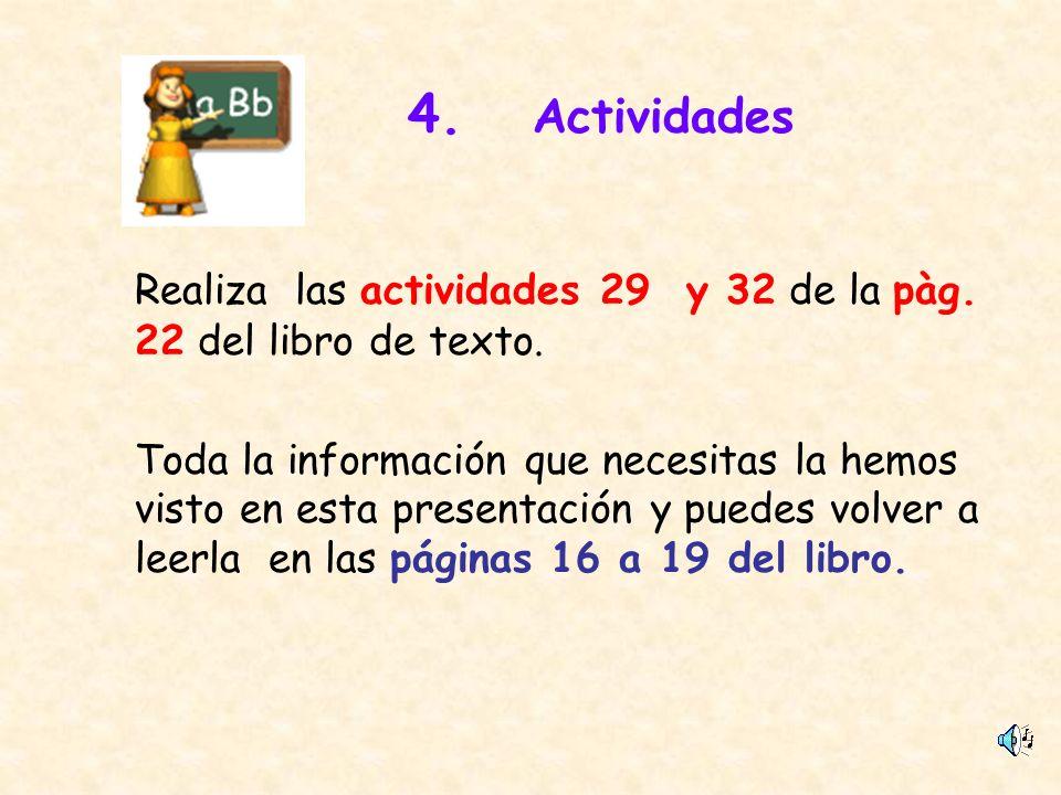 4. Actividades Realiza las actividades 29 y 32 de la pàg. 22 del libro de texto. Toda la información que necesitas la hemos visto en esta presentación