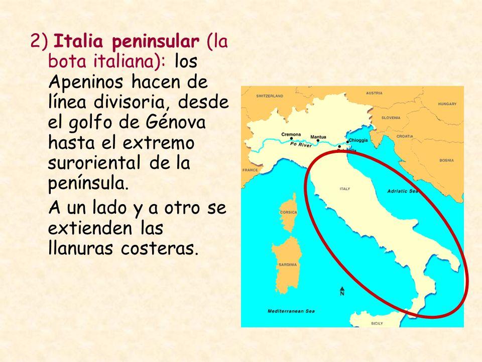 2) Italia peninsular (la bota italiana): los Apeninos hacen de línea divisoria, desde el golfo de Génova hasta el extremo suroriental de la península.