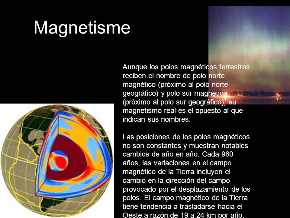 Magnetisme Aunque los polos magnéticos terrestres reciben el nombre de polo norte magnético (próximo al polo norte geográfico) y polo sur magnético (próximo al polo sur geográfico), su magnetismo real es el opuesto al que indican sus nombres.