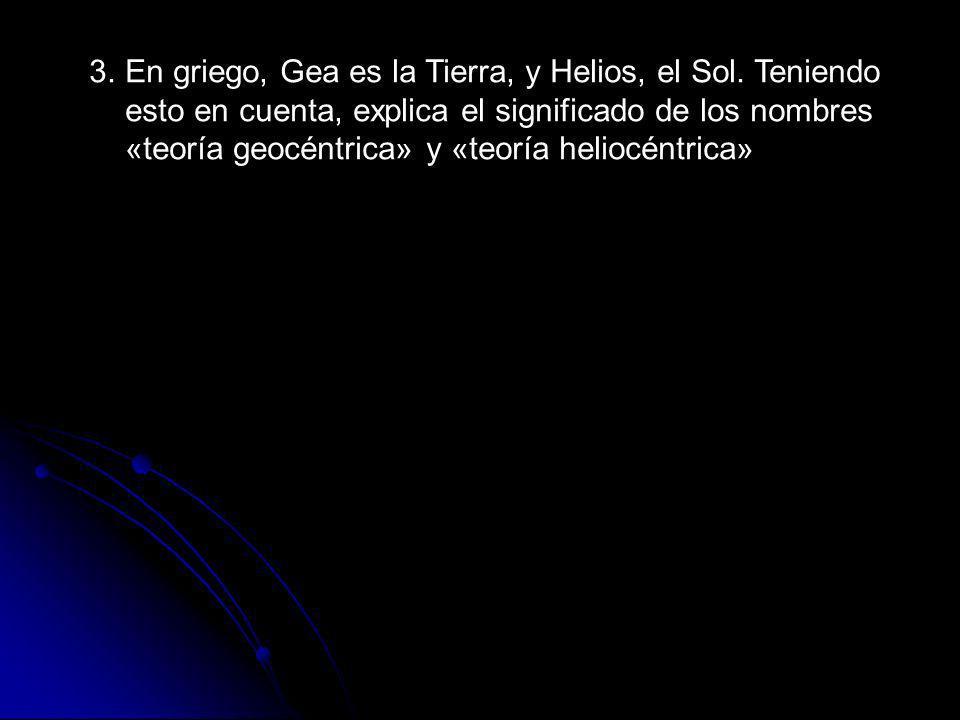Teoría geocéntrica: La Tierra es el centro del universo Teoría heliocéntrica: El Sol es el centro del universo