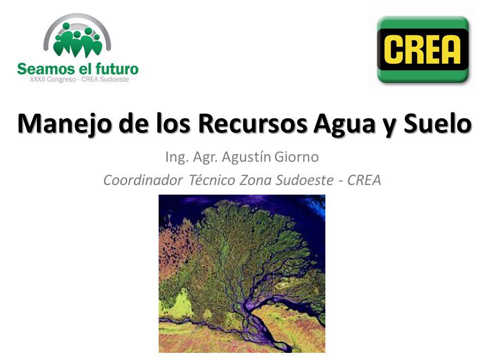 Manejo de los Recursos Agua y Suelo Ing. Agr. Agustín Giorno Coordinador Técnico Zona Sudoeste - CREA