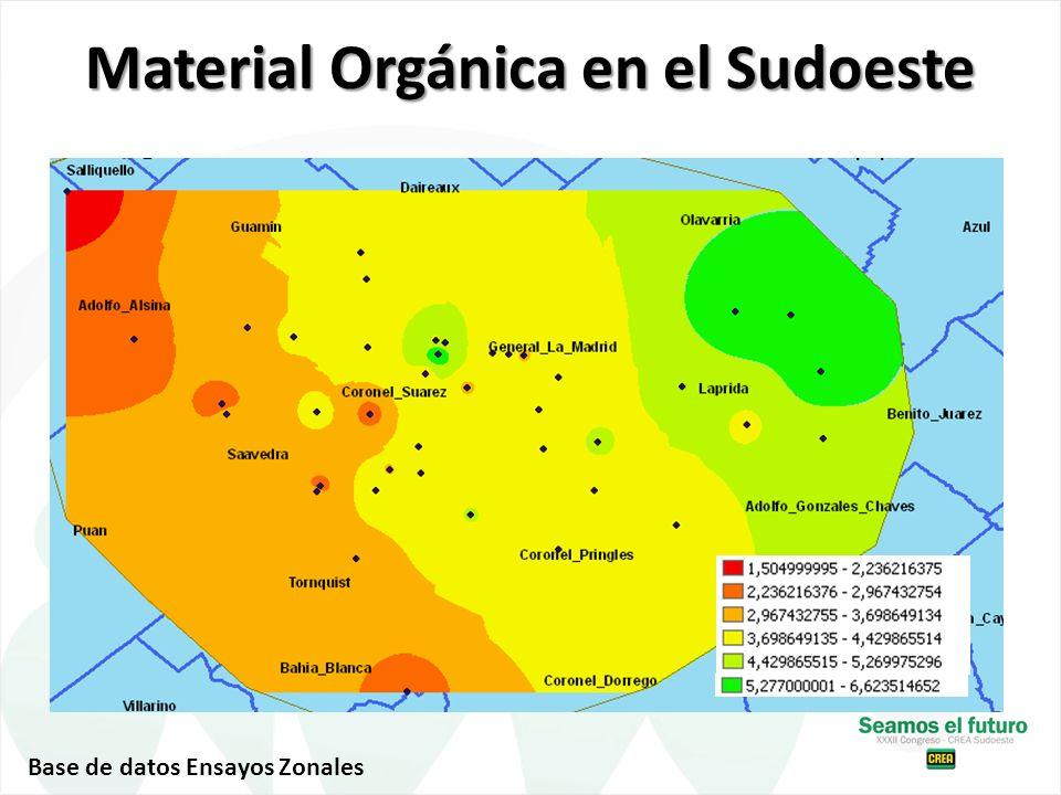 Material Orgánica en el Sudoeste Base de datos Ensayos Zonales