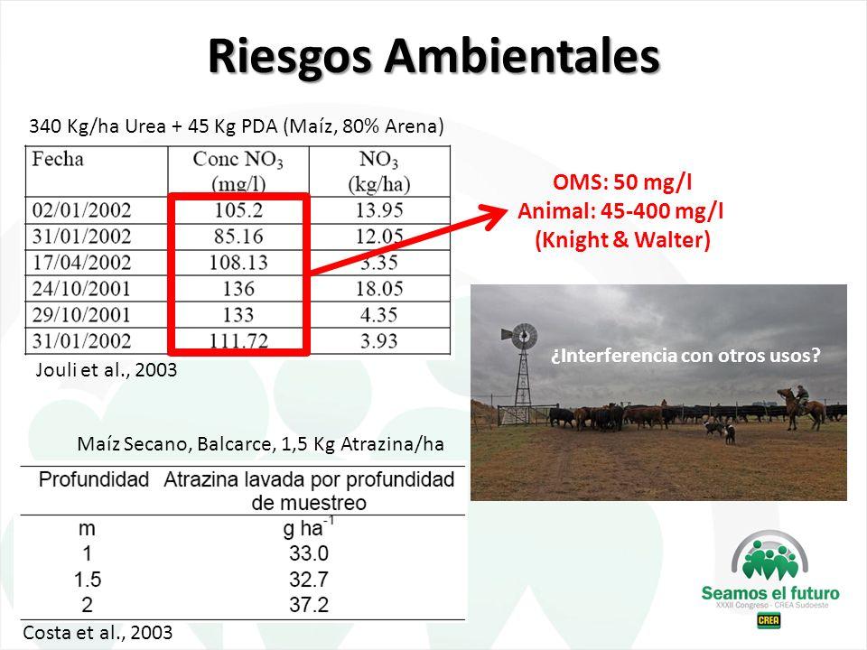 Riesgos Ambientales Jouli et al., 2003 340 Kg/ha Urea + 45 Kg PDA (Maíz, 80% Arena) Costa et al., 2003 Maíz Secano, Balcarce, 1,5 Kg Atrazina/ha ¿Inte