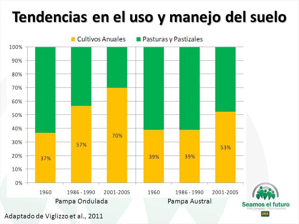 Pampa OnduladaPampa Austral Adaptado de Viglizzo et al., 2011 Tendencias en el uso y manejo del suelo