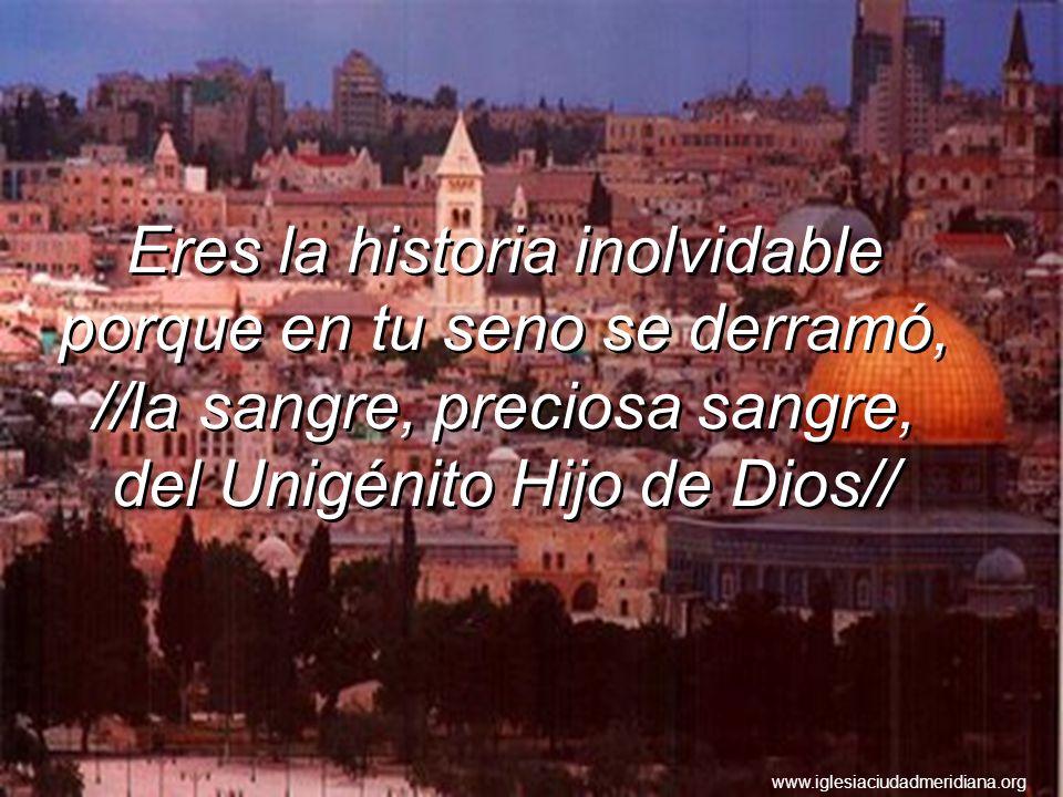 Eres la historia inolvidable porque en tu seno se derramó, //la sangre, preciosa sangre, del Unigénito Hijo de Dios// www.iglesiaciudadmeridiana.org