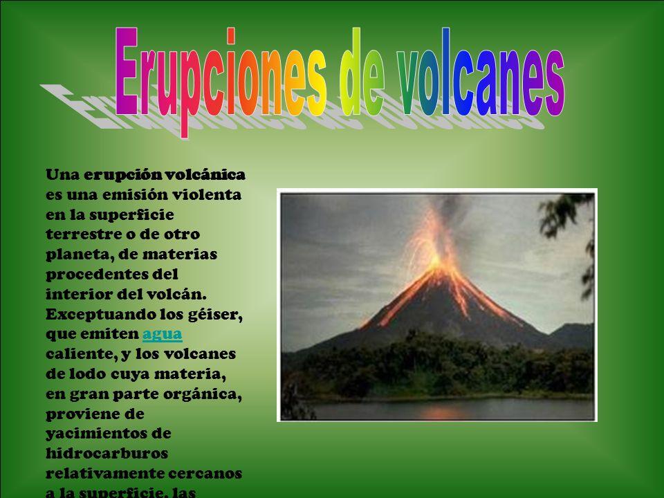 Una erupción volcánica es una emisión violenta en la superficie terrestre o de otro planeta, de materias procedentes del interior del volcán.