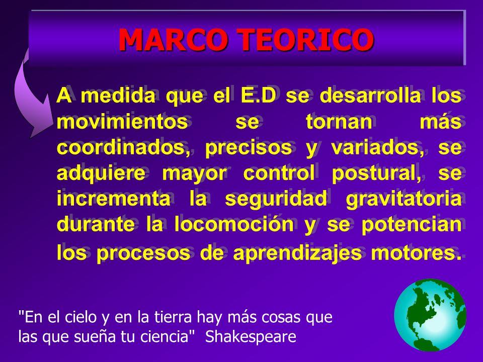 MARCO TEORICO A medida que el E.D se desarrolla los movimientos se tornan más coordinados, precisos y variados, se adquiere mayor control postural, se