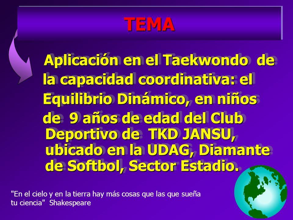 TEMATEMA Aplicación en el Taekwondo de Aplicación en el Taekwondo de la capacidad coordinativa: el la capacidad coordinativa: el Equilibrio Dinámico, en niños Equilibrio Dinámico, en niños de 9 años de edad del Club Deportivo de TKD JANSU, ubicado en la UDAG, Diamante de Softbol, Sector Estadio.