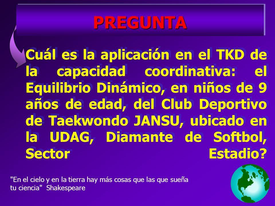 Cuál es la aplicación en el TKD de la capacidad coordinativa: el Equilibrio Dinámico, en niños de 9 años de edad, del Club Deportivo de Taekwondo JANSU, ubicado en la UDAG, Diamante de Softbol, Sector Estadio.