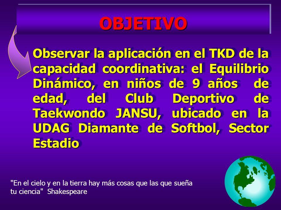 OBJETIVOOBJETIVO Observar la aplicación en el TKD de la capacidad coordinativa: el Equilibrio Dinámico, en niños de 9 años de edad, del Club Deportivo