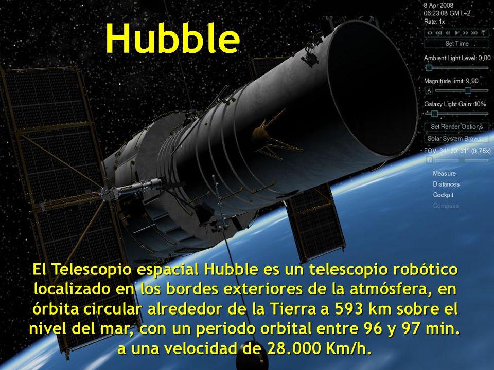 Hubble El Telescopio espacial Hubble es un telescopio robótico localizado en los bordes exteriores de la atmósfera, en órbita circular alrededor de la Tierra a 593 km sobre el nivel del mar, con un periodo orbital entre 96 y 97 min.