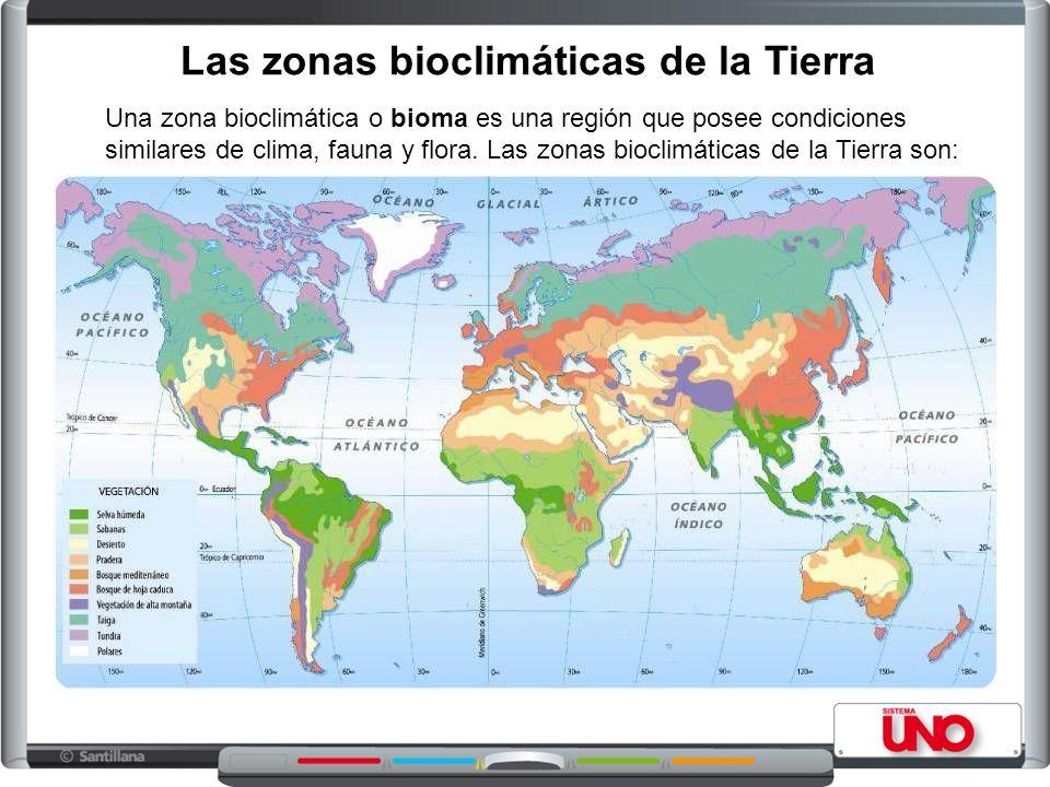 Las zonas bioclimáticas de la Tierra Una zona bioclimática o bioma es una región que posee condiciones similares de clima, fauna y flora.