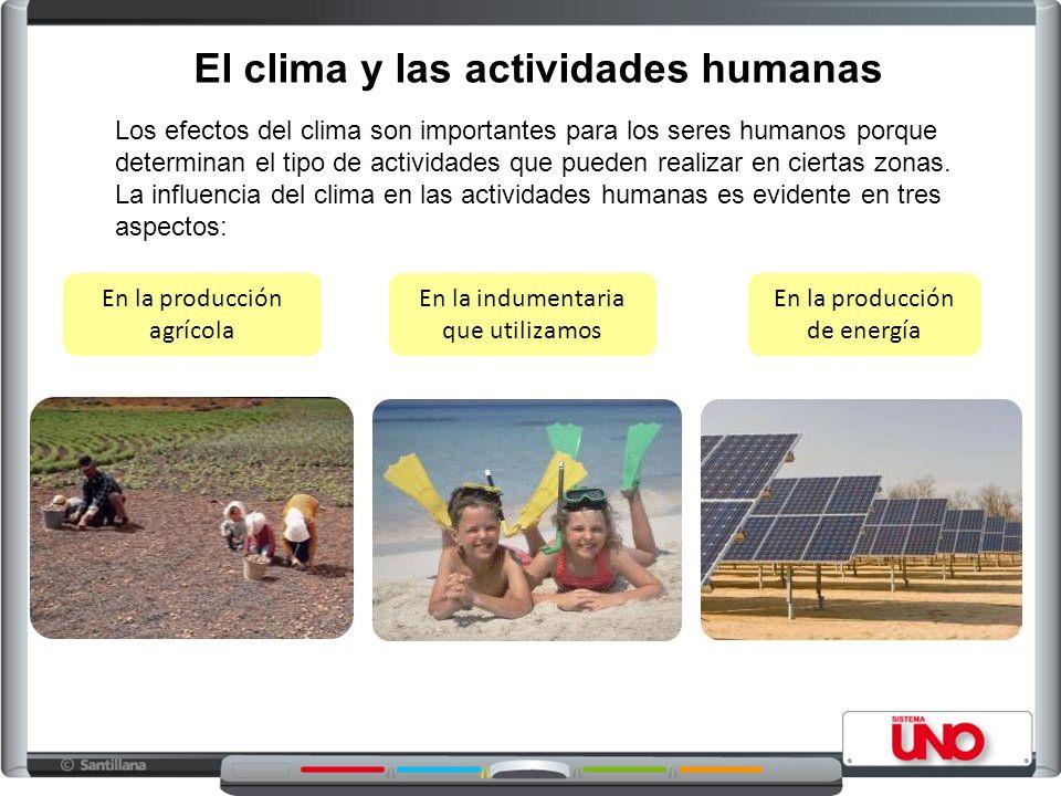 El clima y las actividades humanas Los efectos del clima son importantes para los seres humanos porque determinan el tipo de actividades que pueden realizar en ciertas zonas.