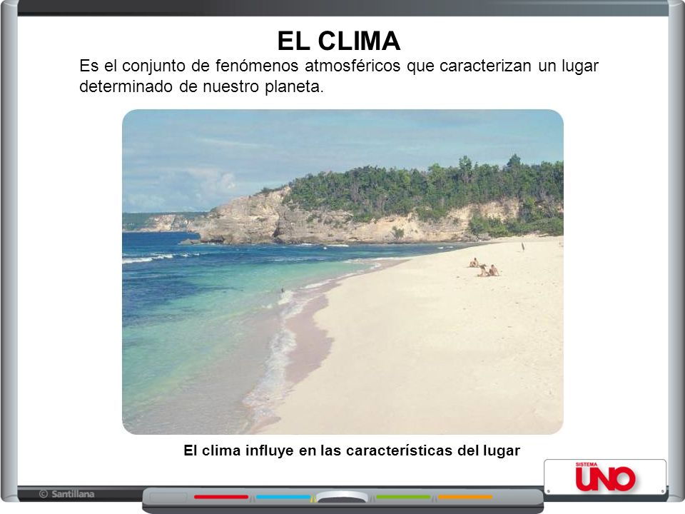 EL CLIMA Es el conjunto de fenómenos atmosféricos que caracterizan un lugar determinado de nuestro planeta.