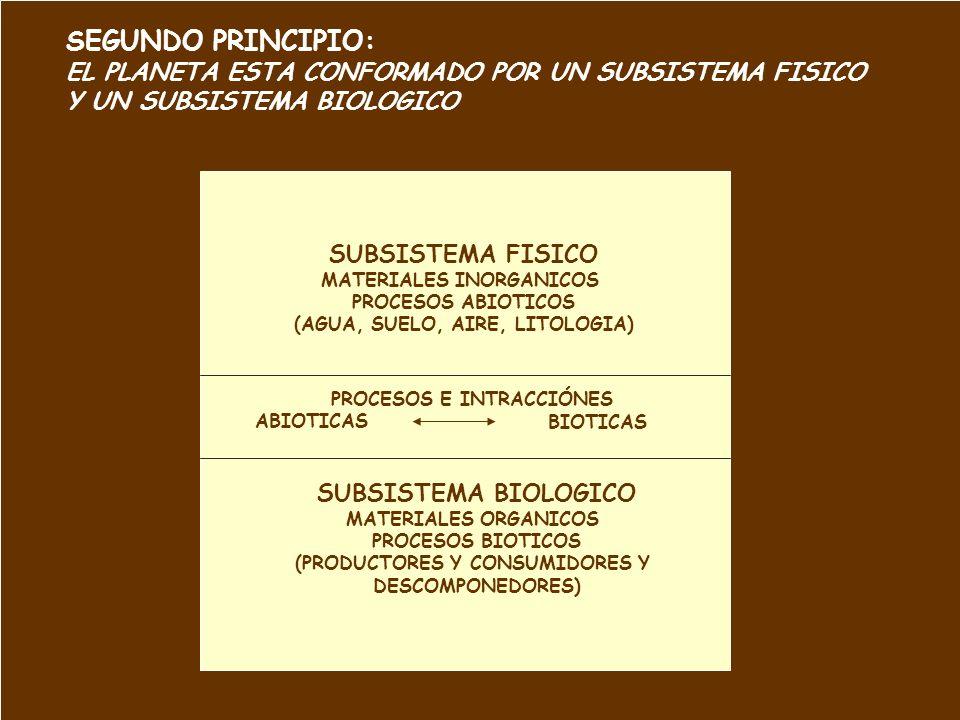 SEGUNDO PRINCIPIO: EL PLANETA ESTA CONFORMADO POR UN SUBSISTEMA FISICO Y UN SUBSISTEMA BIOLOGICO SUBSISTEMA FISICO MATERIALES INORGANICOS PROCESOS ABI