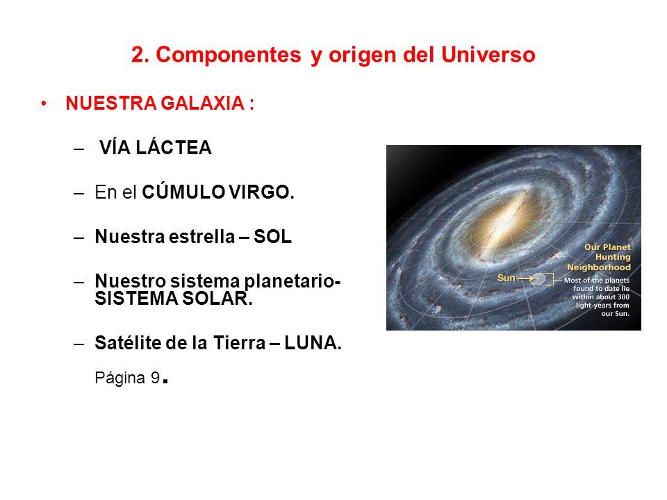 2.Componentes y origen del Universo NUESTRA GALAXIA : – VÍA LÁCTEA –En el CÚMULO VIRGO.