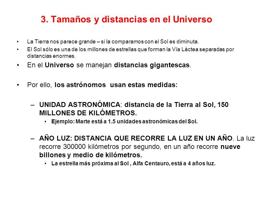 3. Tamaños y distancias en el Universo La Tierra nos parece grande – si la comparamos con el Sol es diminuta. El Sol sólo es una de los millones de es