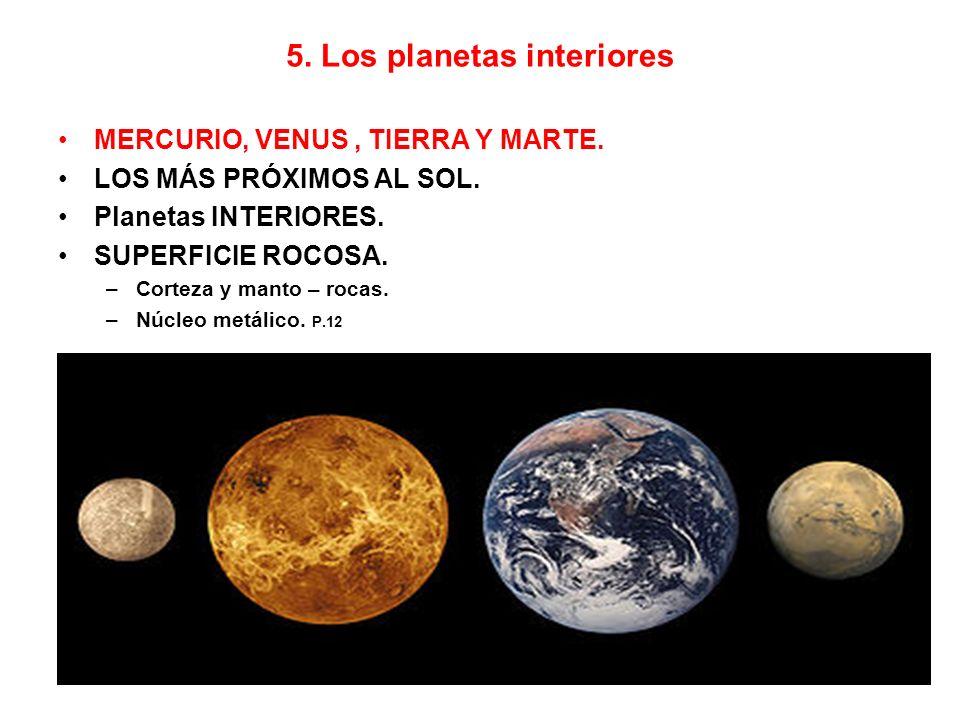 Mercurio Casi tres veces menor que la Tierra.Sin satélites.