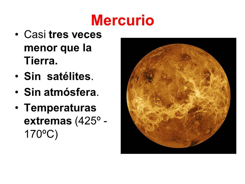 Venus Tamaño similar al de la Tierra.Sin satélites.