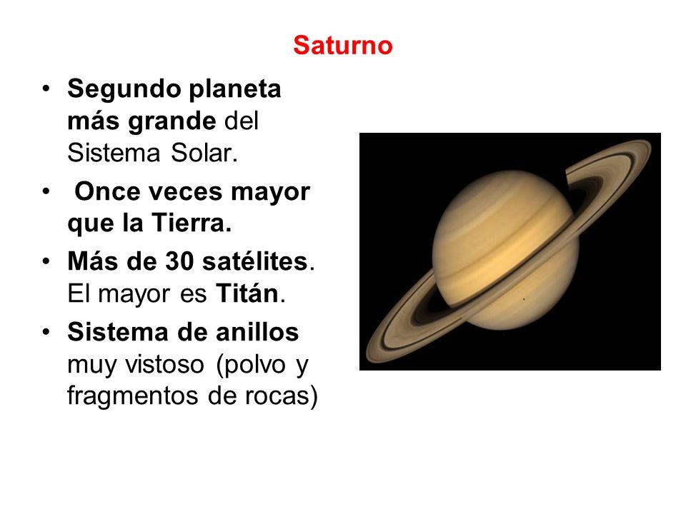 Urano 4 veces mayor que la Tierra.Más de 25 pequeños satélites.