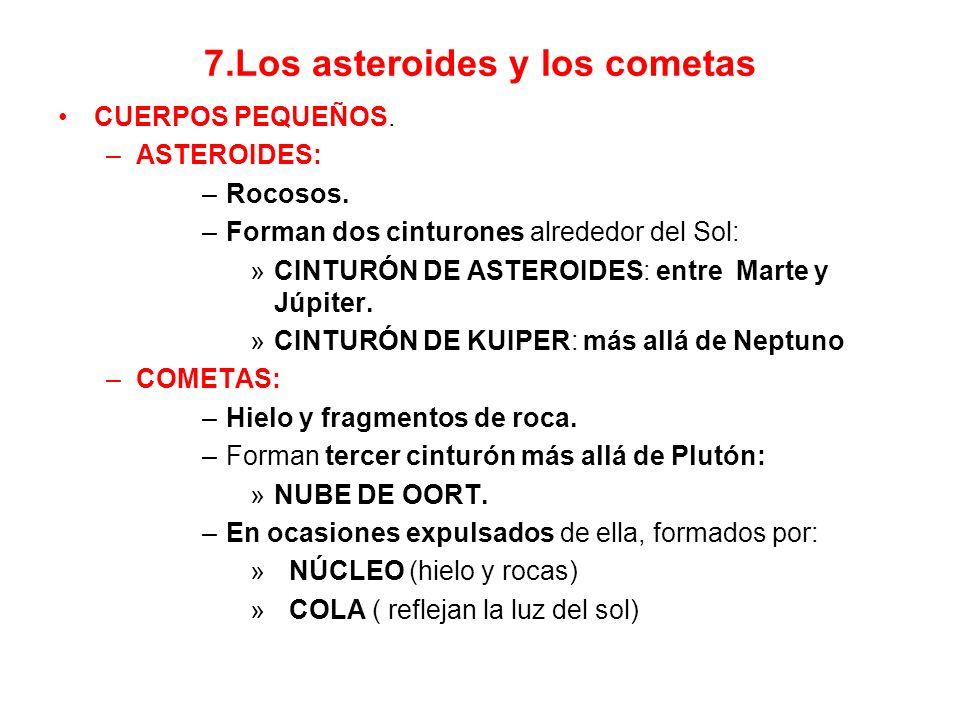 7.Los asteroides y los cometas CUERPOS PEQUEÑOS.–ASTEROIDES: –Rocosos.