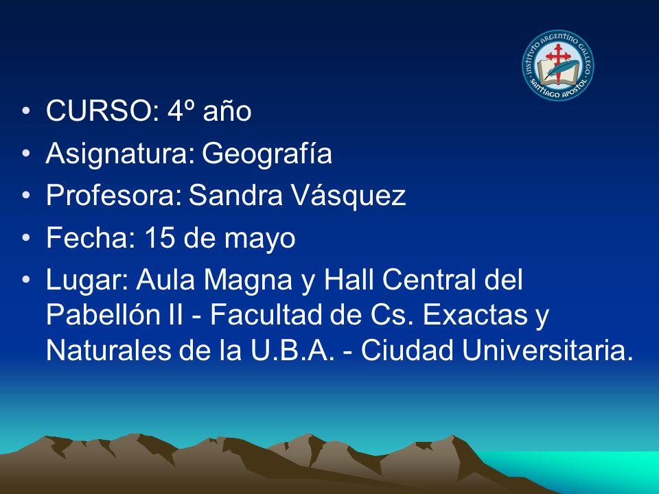 CURSO: 4º año Asignatura: Geografía Profesora: Sandra Vásquez Fecha: 15 de mayo Lugar: Aula Magna y Hall Central del Pabellón II - Facultad de Cs. Exa