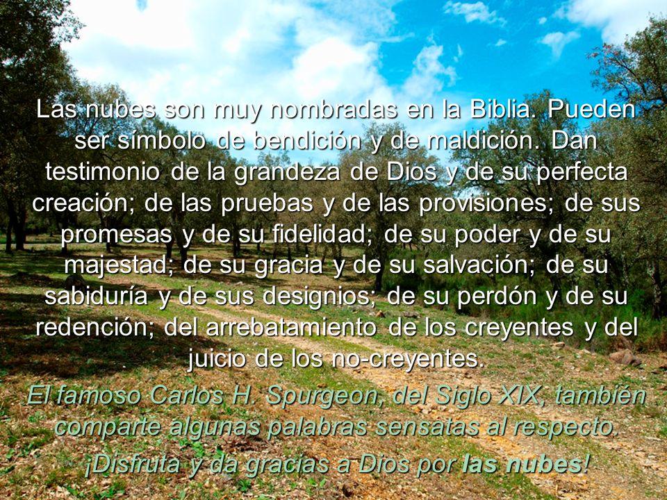 Las nubes son muy nombradas en la Biblia.Pueden ser símbolo de bendición y de maldición.