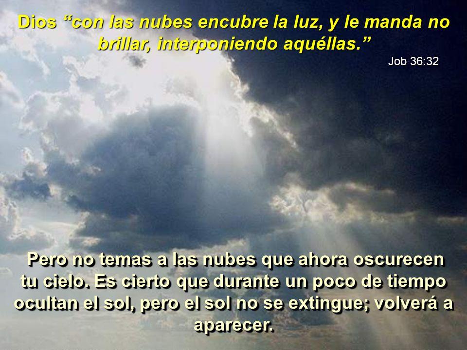 Ata las aguas en sus nubes, y las nubes no se rompen debajo de ellas. Job 26:8