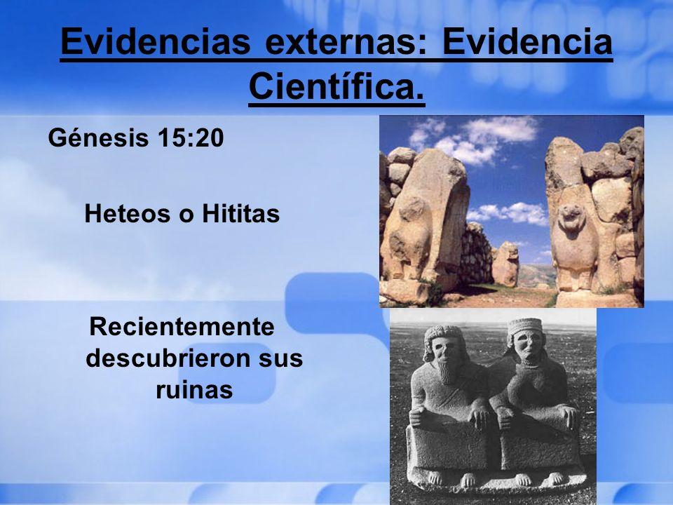 Evidencias externas: Evidencia Científica. Génesis 15:20 Heteos o Hititas Recientemente descubrieron sus ruinas