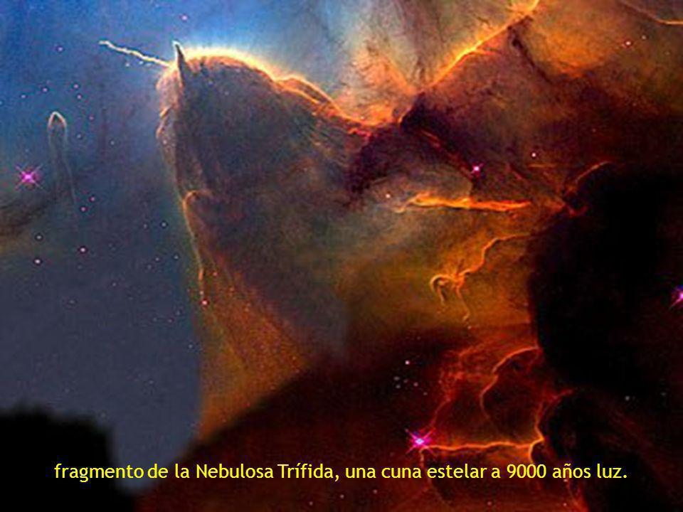 dos galaxias arremolinadas la NGC 2207 y la IC 2163 situadas a 114 millones de años luz.