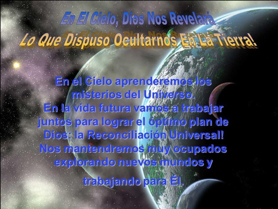 En el Cielo aprenderemos los misterios del Universo. En la vida futura vamos a trabajar juntos para lograr el óptimo plan de Dios: la Reconciliación U