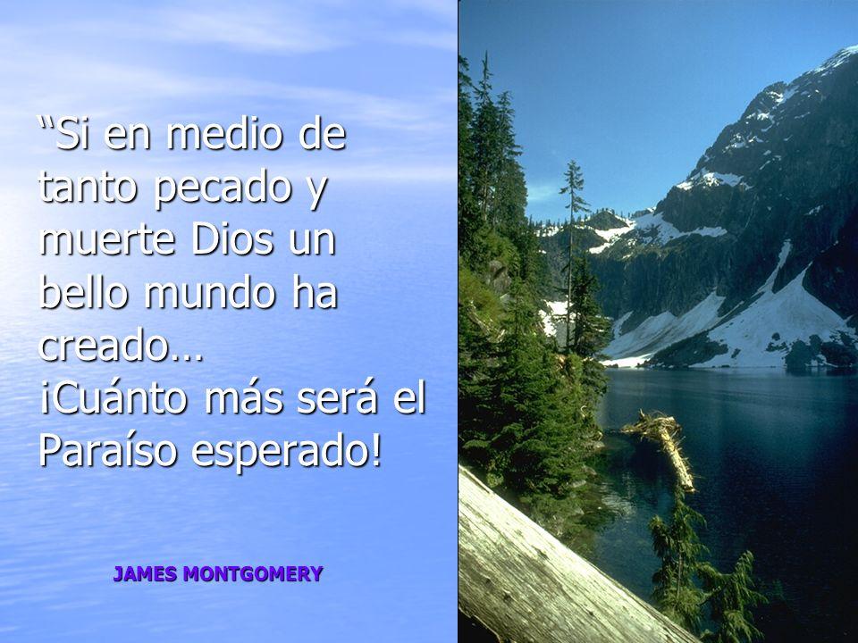 Si en medio de tanto pecado y muerte Dios un bello mundo ha creado… ¡Cuánto más será el Paraíso esperado! JAMES MONTGOMERY