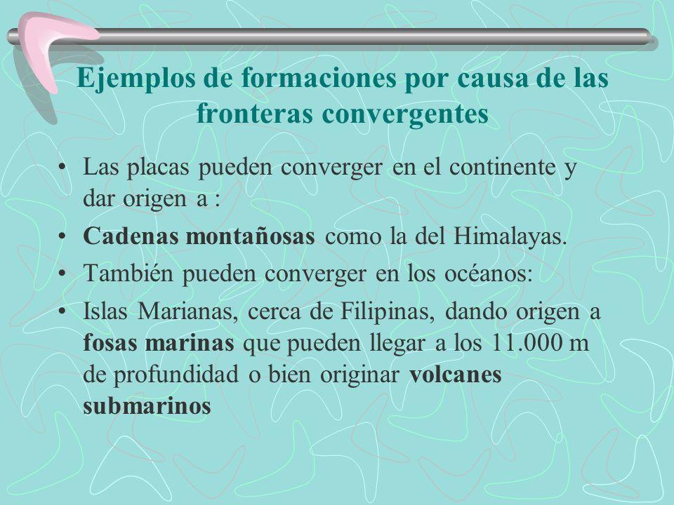 2. Fronteras convergentes Se mueven una contra la otra. (subducción). El ejemplo más conocido es el de la Placa de Nasca (o Nazca), que se está hundie