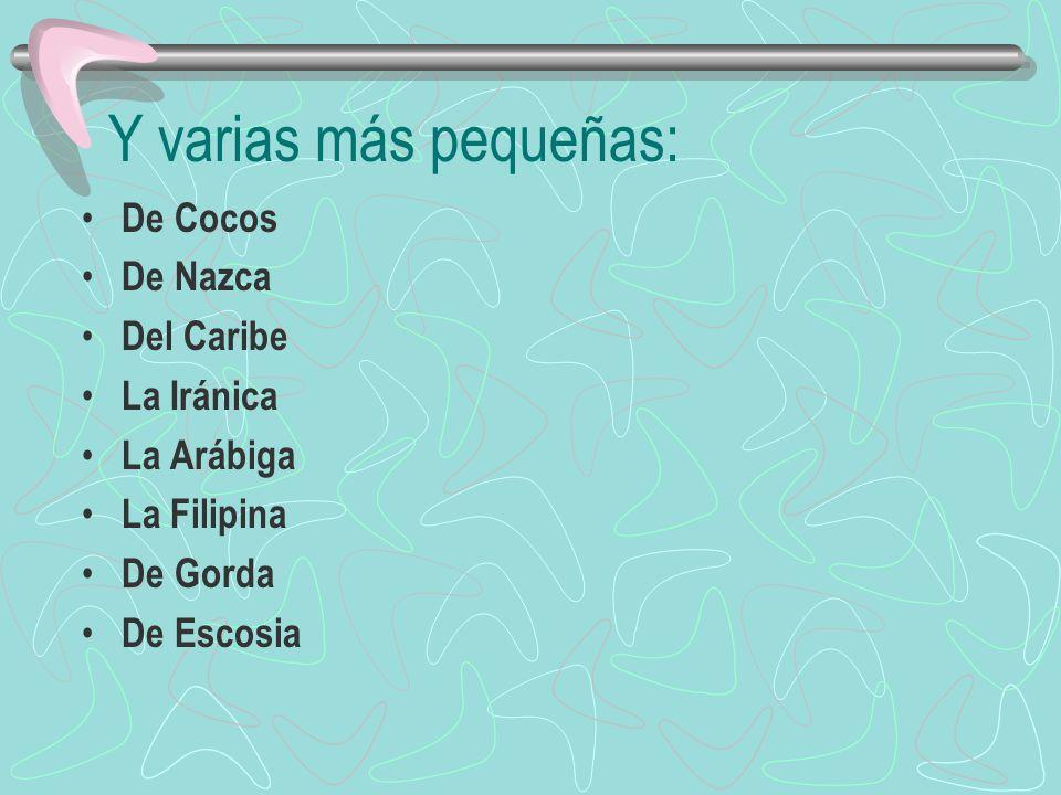 Existen siete grandes placas: La Pacífica La Norteamericana La Sudamericana La Africana La Euroasiática La Indoaustraliana La Antártica