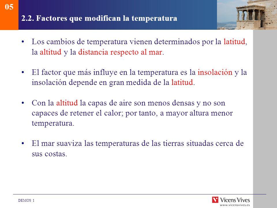 DEMOS 1 2.2. Factores que modifican la temperatura Los cambios de temperatura vienen determinados por la latitud, la altitud y la distancia respecto a