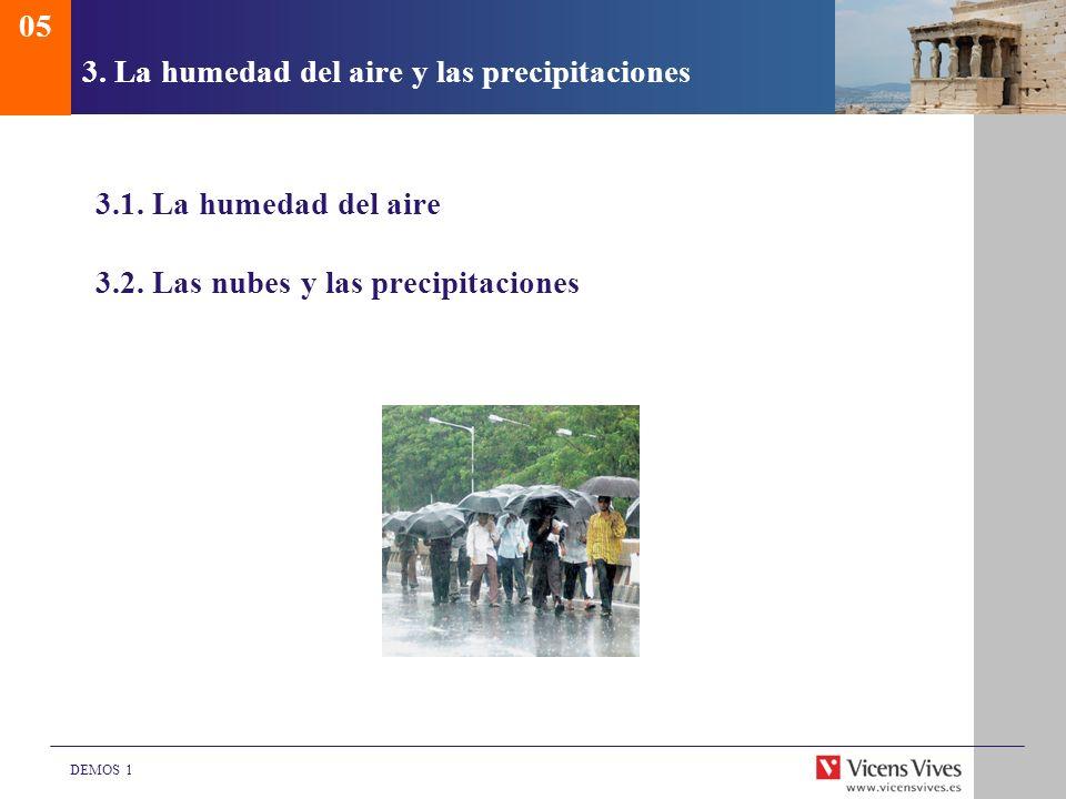 DEMOS 1 3. La humedad del aire y las precipitaciones 3.1. La humedad del aire 3.2. Las nubes y las precipitaciones 05