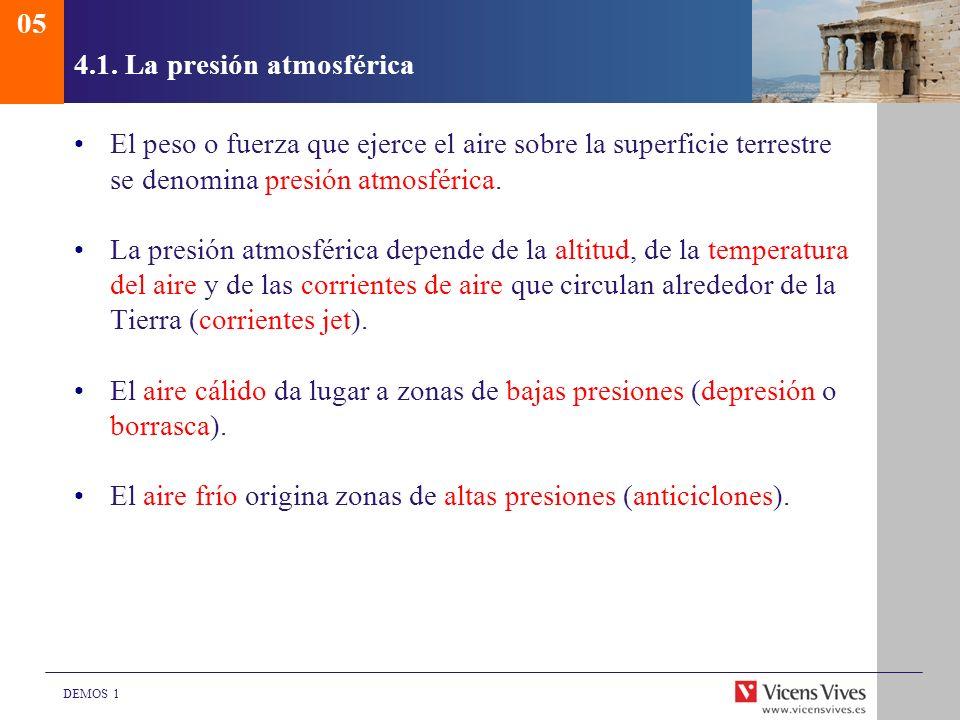 DEMOS 1 4.1. La presión atmosférica El peso o fuerza que ejerce el aire sobre la superficie terrestre se denomina presión atmosférica. La presión atmo
