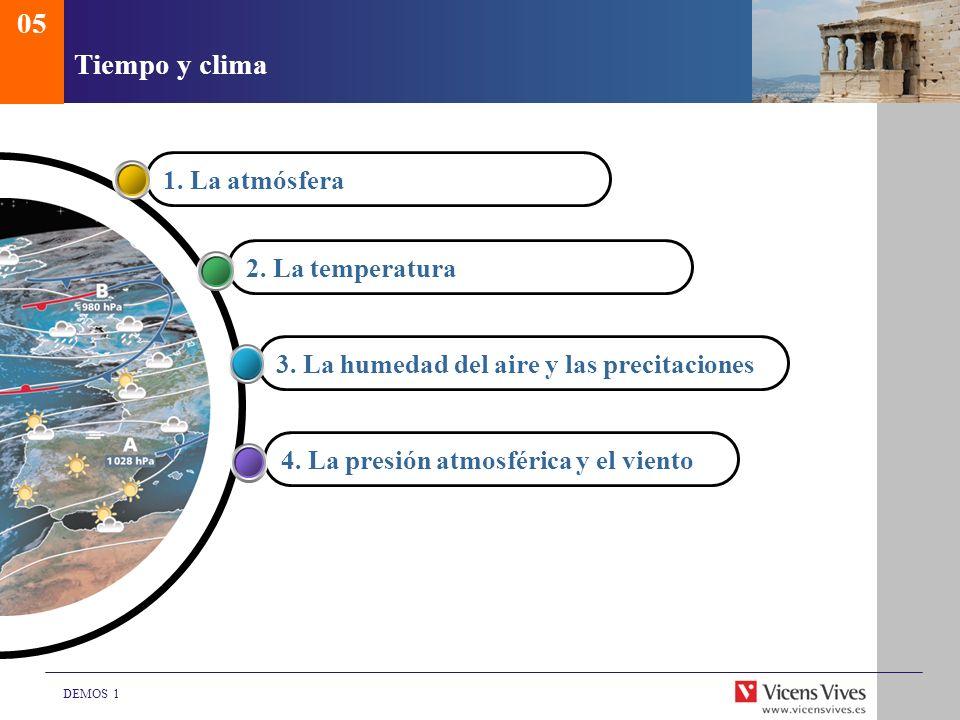 DEMOS 1 Tiempo y clima 1. La atmósfera2. La temperatura3. La humedad del aire y las precitaciones4. La presión atmosférica y el viento 05