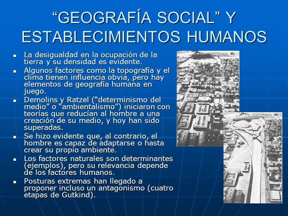 GEOGRAFÍA SOCIAL Y ESTABLECIMIENTOS HUMANOS La desigualdad en la ocupación de la tierra y su densidad es evidente.