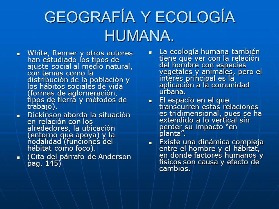 GEOGRAFÍA Y ECOLOGÍA HUMANA.