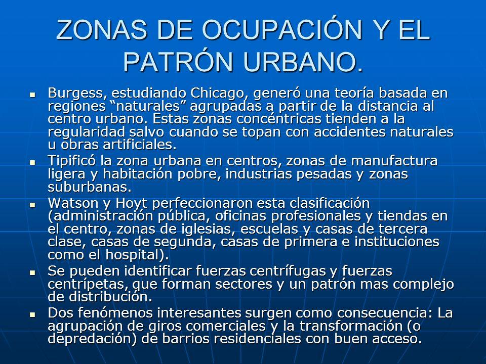 ZONAS DE OCUPACIÓN Y EL PATRÓN URBANO.