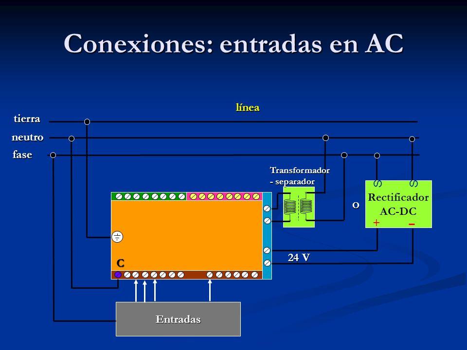 Conexiones: entradas en AC Rectificador AC-DC SS + línea fase neutro tierra 24 V Transformador - separador Entradas C O