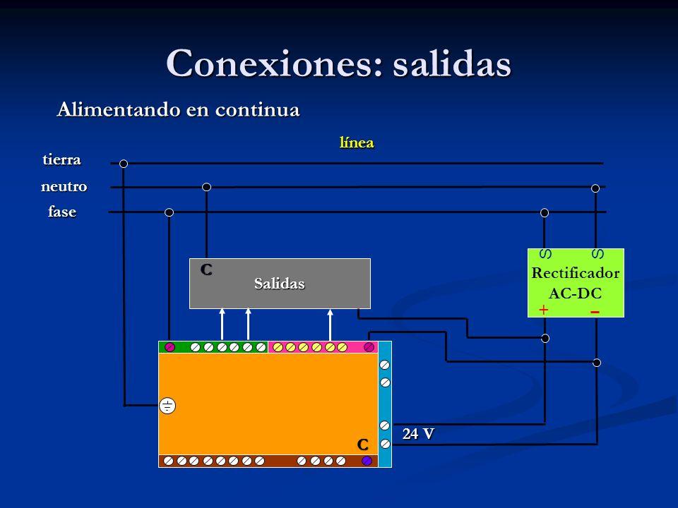 Conexiones: salidas Rectificador AC-DC SS + Alimentando en continua línea fase neutro tierra 24 V Salidas C C