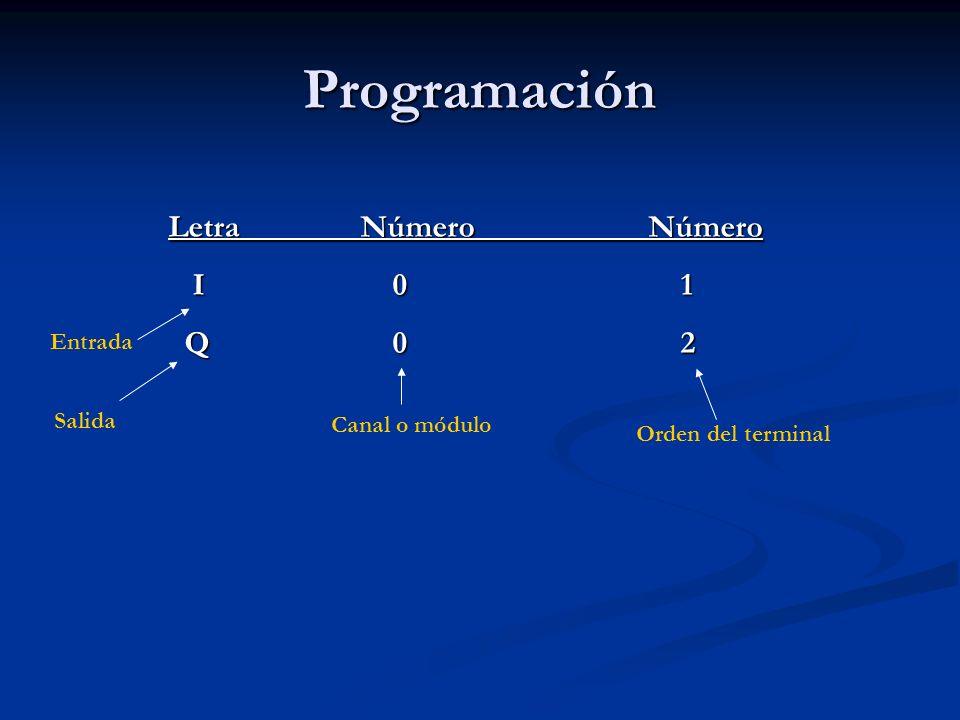 Programación LetraNúmeroNúmero I 0 1 I 0 1 Q 0 2 Q 0 2 Entrada Salida Canal o módulo Orden del terminal