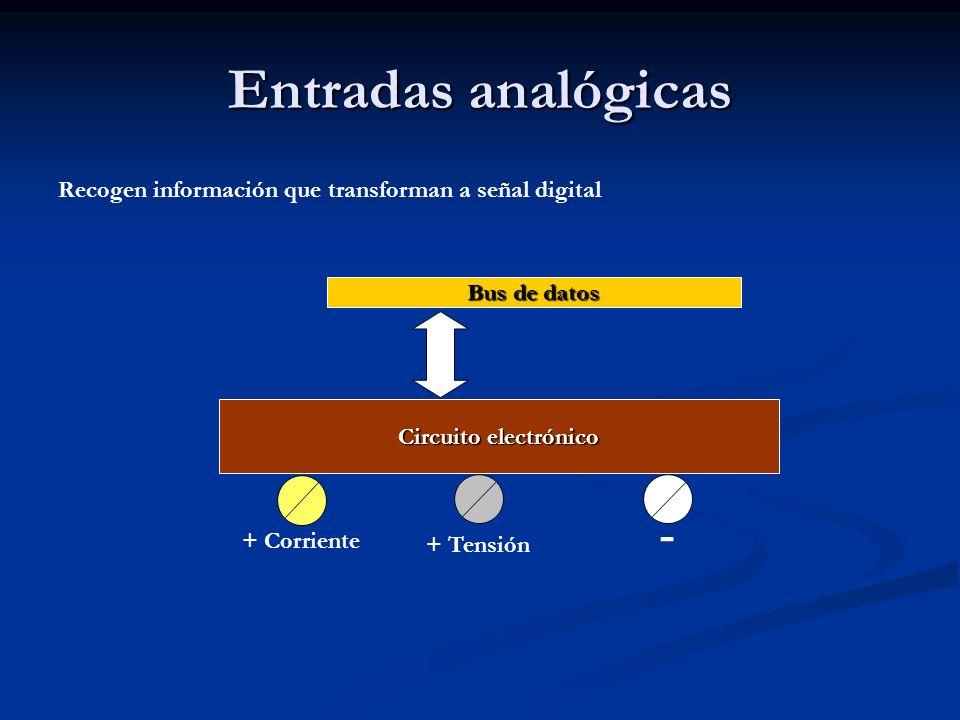 Entradas analógicas Recogen información que transforman a señal digital Circuito electrónico Bus de datos + Corriente + Tensión -